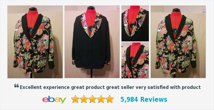 Buy it Now! Always FREE SHIPPING! Reversible Jacket Tania Size XL Floral & Black Scrunchy Satin Pockets