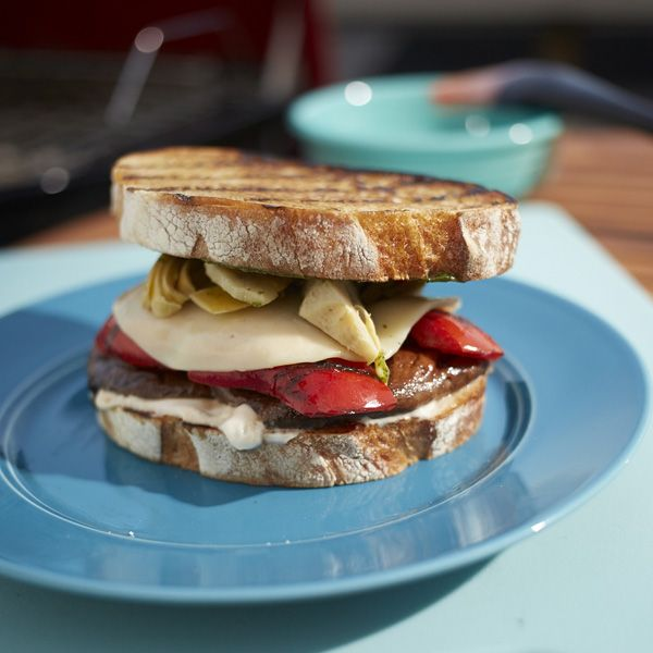 Grilled portobello mushroom and red pepper makes this vegetarian sandwich hearty and flavorful.