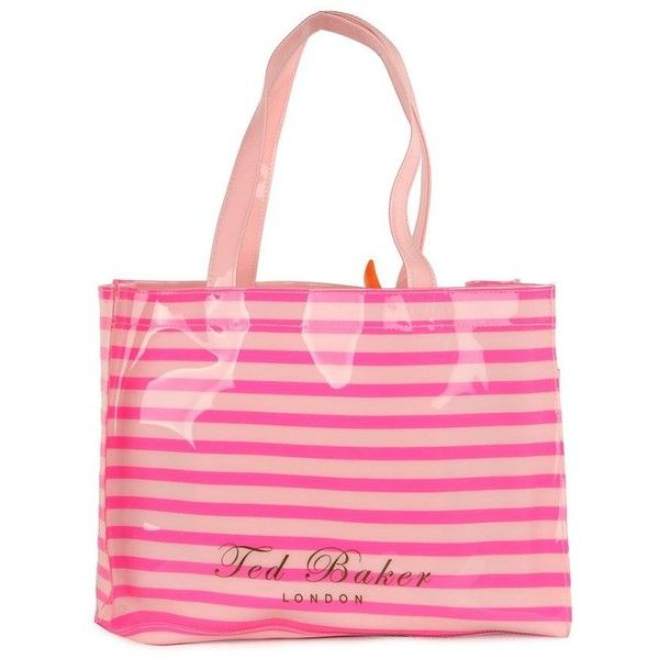 Ted Baker Women's Telley Pink Stripe Shopper Bag With Flip Flops ($52) ❤ liked on Polyvore featuring bags, handbags, tote bags, shopping bags, pink handbags, shopper tote bag, ted baker handbags, striped tote bags and neon pink purse