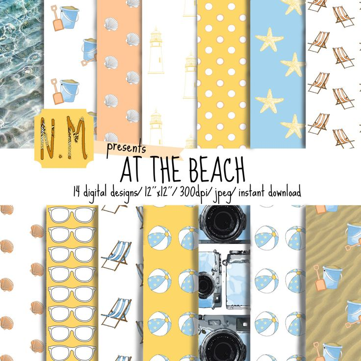 Beach digital paper, At the Beach, colorful summer printable paper with beach, sand, ocean, sunglasses, for beach and summer scrapbooking by ShopNeverMind on Etsy https://www.etsy.com/listing/237559636/beach-digital-paper-at-the-beach
