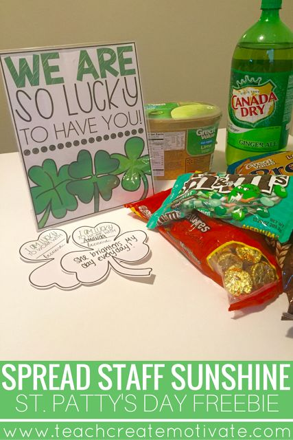 Teachers: Spread Staff Sunshine at your school on St. Patrick's Day! 2 Freebies included!!