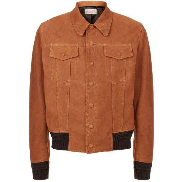 Saint Laurent Suede Bomber Jacket ($3,870) ❤ liked on Polyvore featuring men's fashion, men's clothing, men's outerwear, men's jackets, mens retro jackets, mens suede bomber jacket, mens suede leather jacket, yves saint laurent mens jacket and mens suede jacket