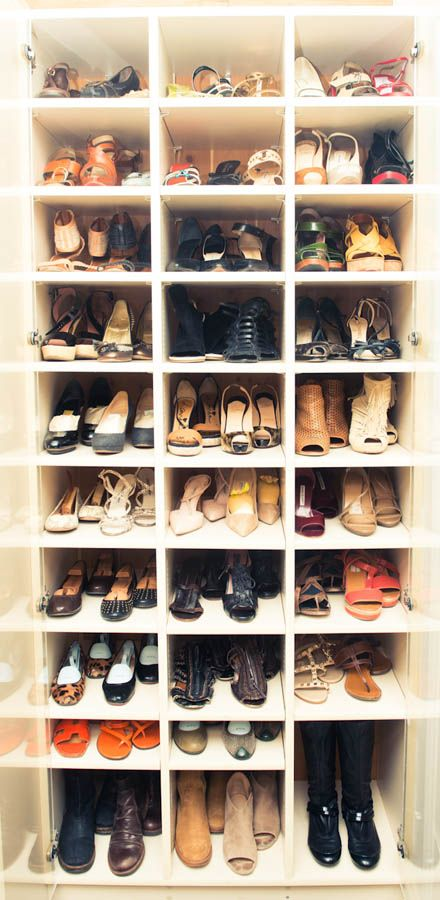 love Andrea Stanford's (Design Director at One King's Lane) shoe storage - so easy to see what you have