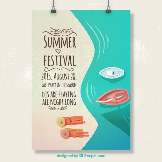 夏祭りのポスター 無料ベクター