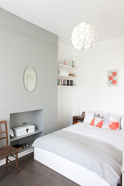 Homes neon: White and minimal London flat - the bedroom