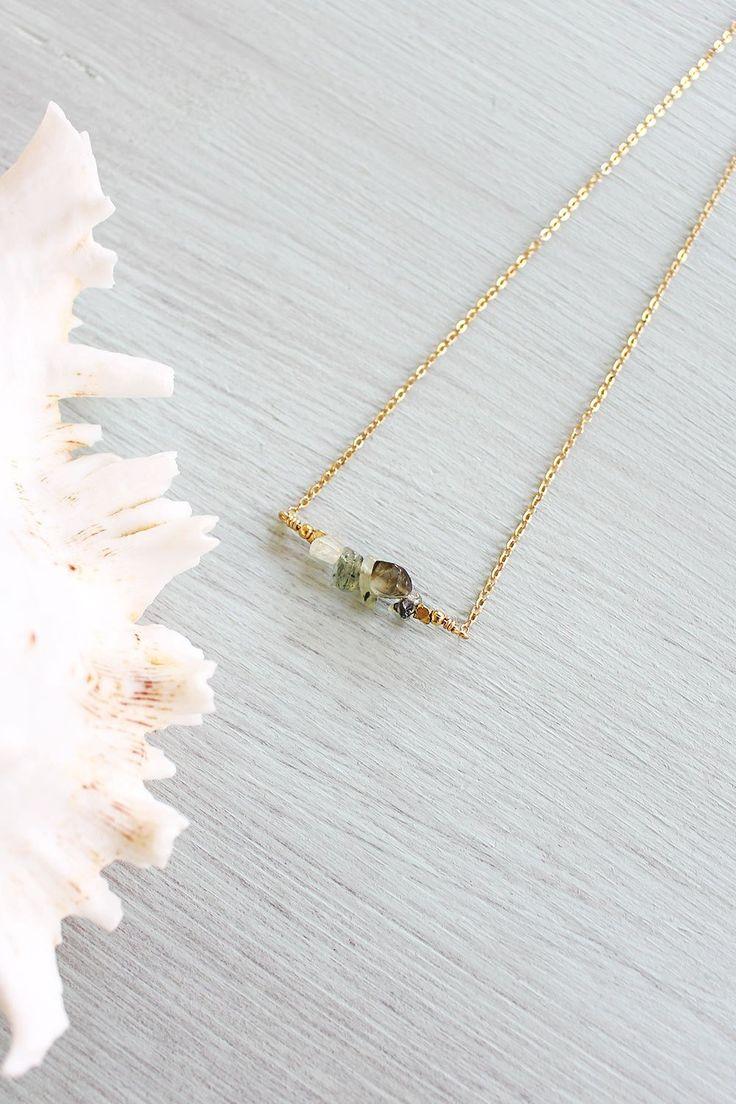 Prehnite Bead Bar Necklace – Luna Tide