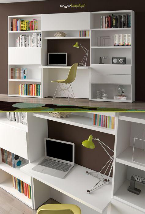 Muebles · egelasta · live · mueble · madera · moderno · comedor · librería con estanterías y mesa estudio · laca blanco