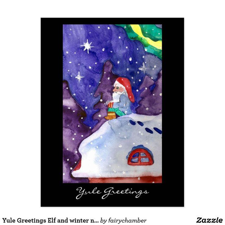 Yule Greetings Elf and winter nature Postcard
