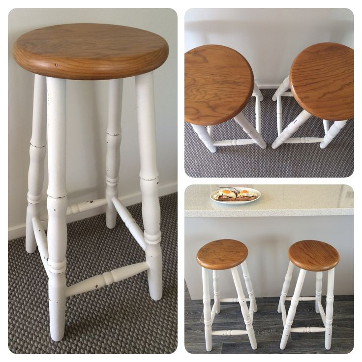 Vintage bar stools. Shabby chic with varnished seat.