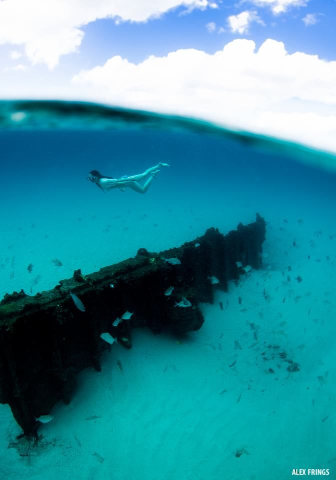 Underwater wreck at Byron Bay, Australia.