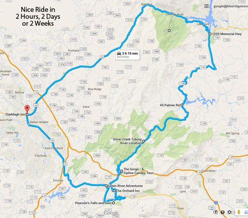 Interactive Google Map of 2-Hour Loop from Hendersonville to Saluda and Chimney Rock