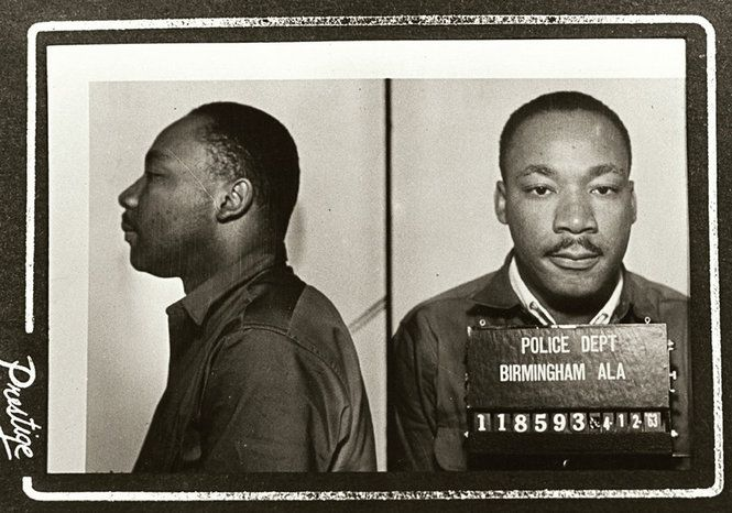"Dr. Martin Luther King Jr. wrote his ""Letter from Birmingham Jail"" after being arrested and booked on April 12, 1963. King's heartfelt letter is considered the preeminent document of the civil rights movement, appearing in hundreds of anthologies and designated as required reading for many students worldwide. It has been translated into 40 languages. (Birmingham Police Department Photo)"