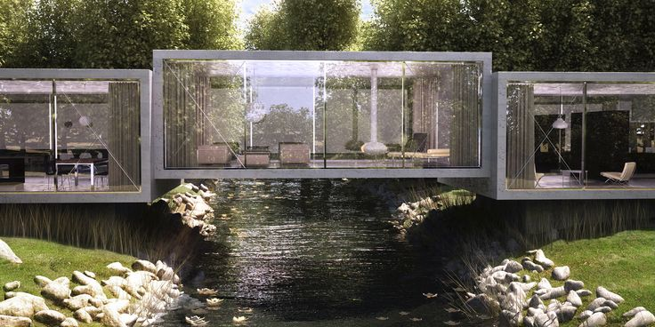 The Bridge House design by ObjecktCreative for a house over a creek