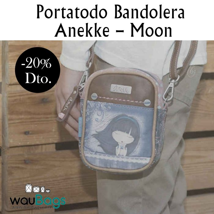 """El Portatodo Bandolera Anekke """"Moon"""", tiene un compartimento principal co cierre de cremallera, un bolsillo en la parte trasera, también con cremallera, asa lateral para llevarlo cogido en la mano y tira adaptable y desmontable para llevarlo colgado al hombro o bien en bandolera. @waubags.com #anekke #bolso #bandolera #portatodo #oferta #descuento #rebajas #waubags"""