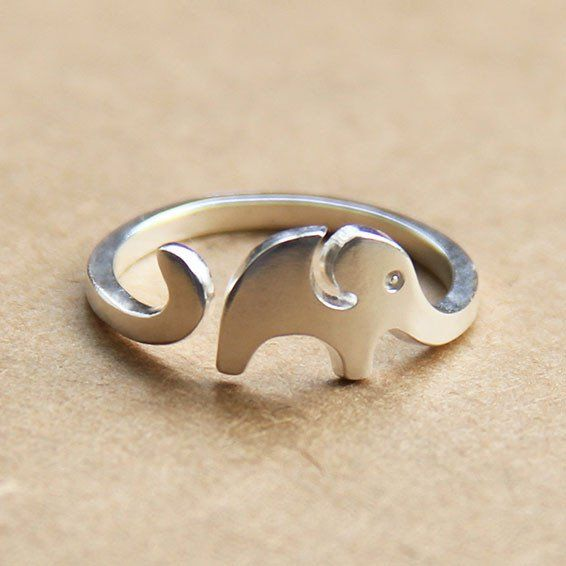 Cute Little Elephant 925 Sterling Silver Opening Ring