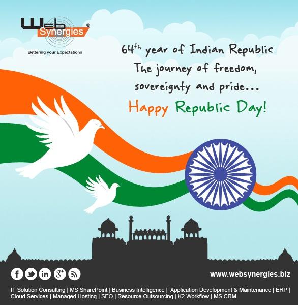 Web Synergies India celebrating 64th year of Indian Republic !    #India #celebration #republic #26th Jan #freedom