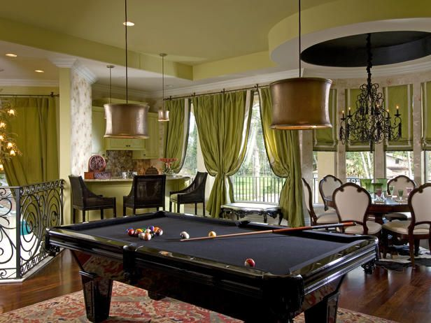 Transitional-Style Game Room in Engaging Game Rooms from HGTV the black pool table that's awesome
