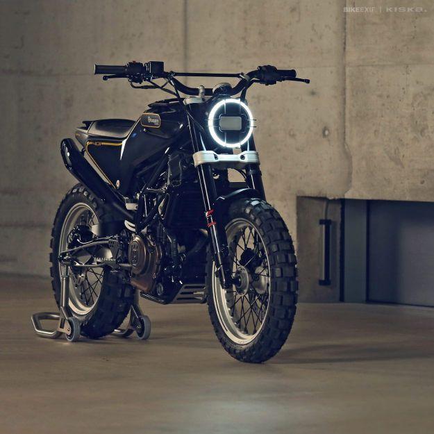 The Husqvarna 401 Svart Pilen 'Black Arrow' motorcycle concept. 400cc - 43hp - 135 kg. Designed by Kiska.