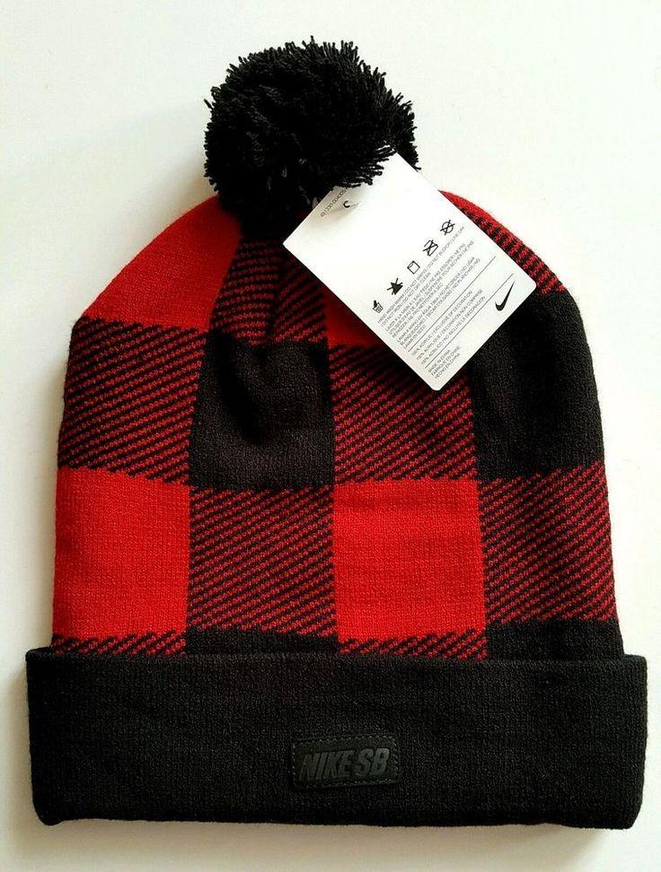 New NIKE SB Skateboarding Mens POM Knit Cuffed Beanie Cap Hat Red Buffalo Plaid #Nike #Beanie
