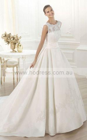 Princess Sleeveless Bateau Buttons Floor-length Wedding Dresses fcaf1041