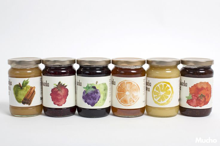 6 types of jam packaging for Buenas Migas (art direction by Marc Català, Mucho - wearemucho.com) #packaging #buenasmigas #vanianedkova #jams #mermeladas #labels #graphicdesign #illustration #food