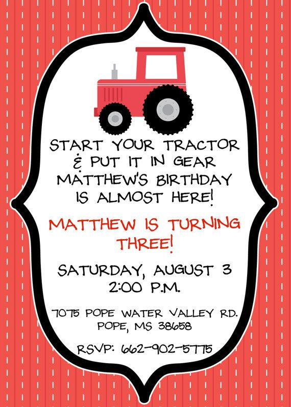 Hey, I found this really awesome Etsy listing at http://www.etsy.com/listing/169632711/printed-red-tractor-birthday-invitations