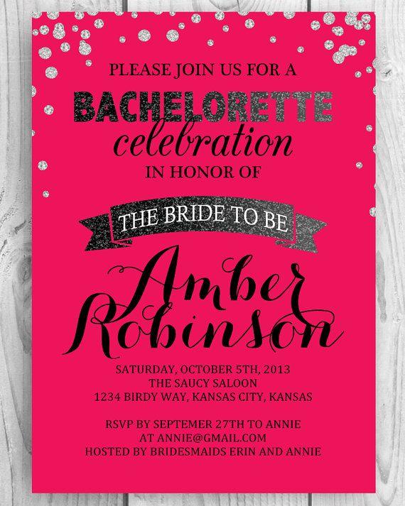 DIY Printable Bachelorette Party Invite - Glitter  Ombre in Raspberry Pink!