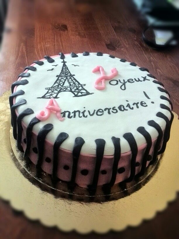 Hand painted Eiffel tower on cake