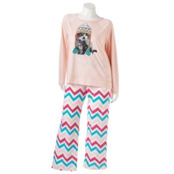 SO Pajamas: Printed Knit Pajama Gift Set - Juniors' Plus Size