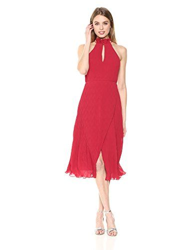 9c7f134039de8 Keepsake The Label Women's Skylines Sleeveless Crossover Hem Midi Dress  With Front Slit, Scarlet Red, M