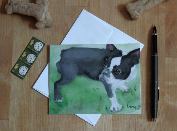 Boston Terrier Note Card Blank Watercolor Cute Dog Notecard Thank You Birthday Greeting Card Invitation Dog Walker Pet Sitter All Occasion by SycamoreWoodStudio on Etsy