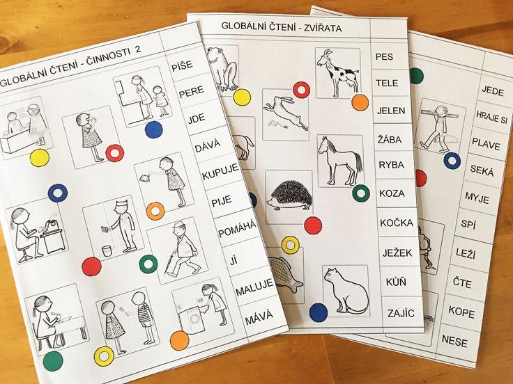Pracovní čtecí list - zvířata, činnosti, pro tabulku Logico Piccolo