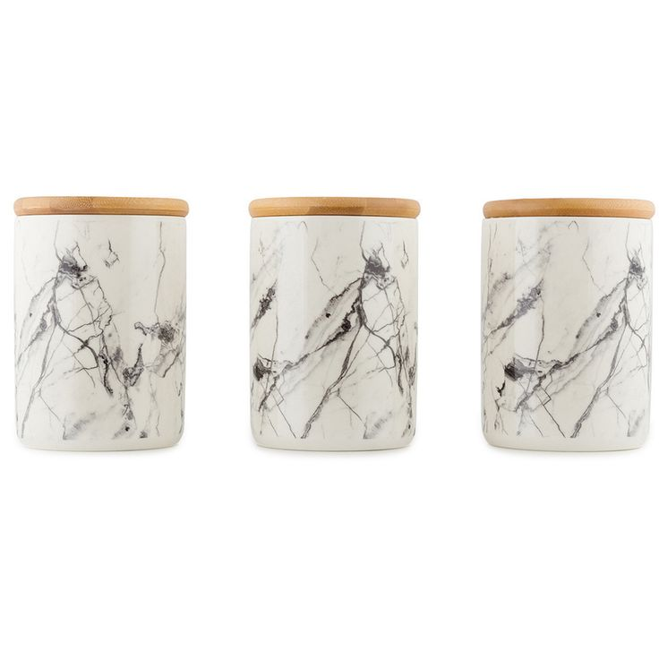 Set of 4 Ceramic Canisters - Marble Look TEA COFFEE SUGAR Kitchen Bathroom Decor in Home & Garden, Kitchen, Dining, Bar, Food Storage | eBay