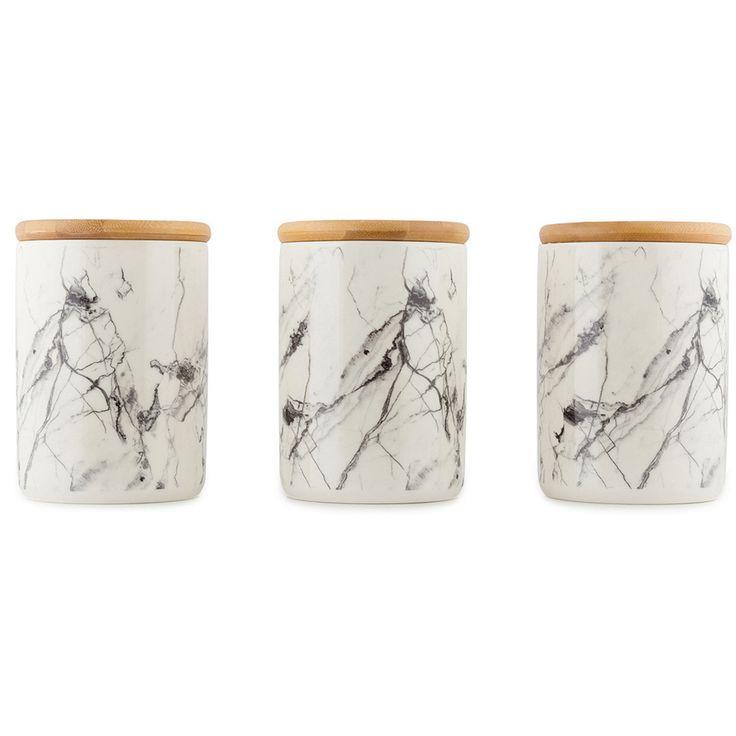 Set of 4 Ceramic Canisters - Marble Look TEA COFFEE SUGAR Kitchen Bathroom Decor in Home & Garden, Kitchen, Dining, Bar, Food Storage   eBay