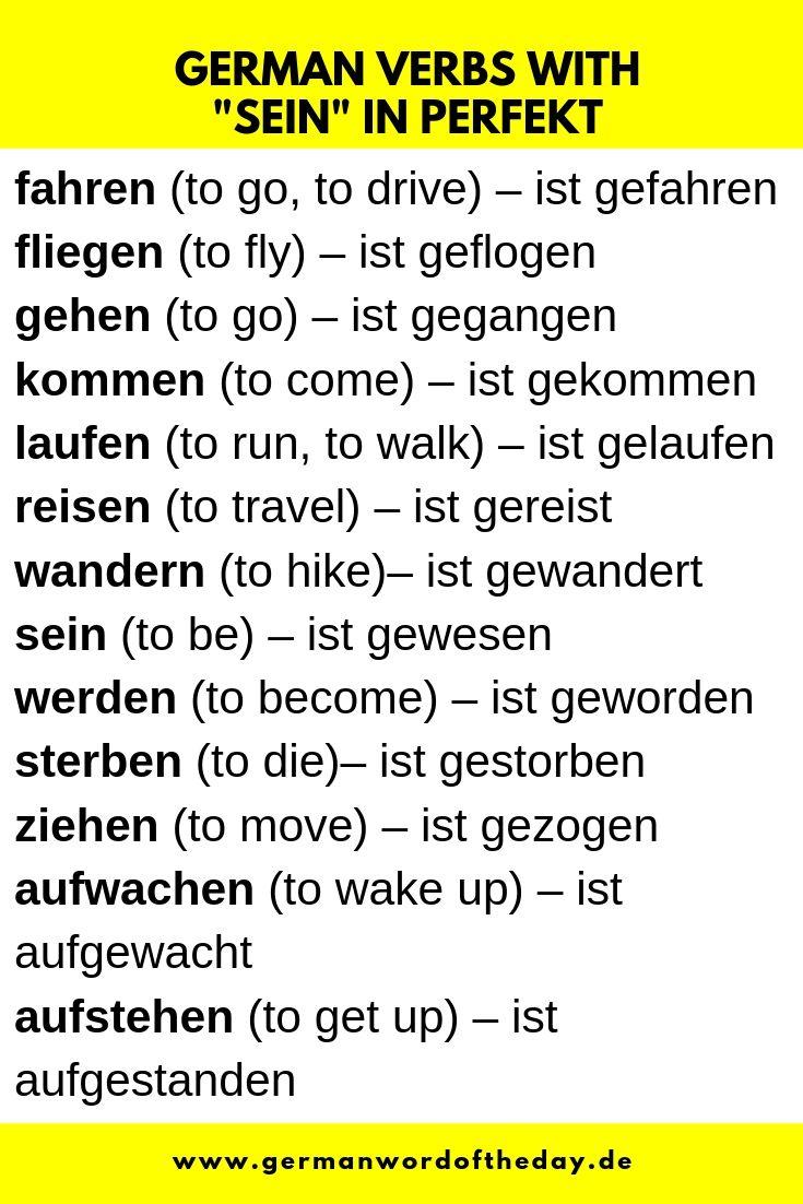 German Verbs With Sein In Perfekt German Grammar German Phrases German Language Learning [ 1102 x 735 Pixel ]