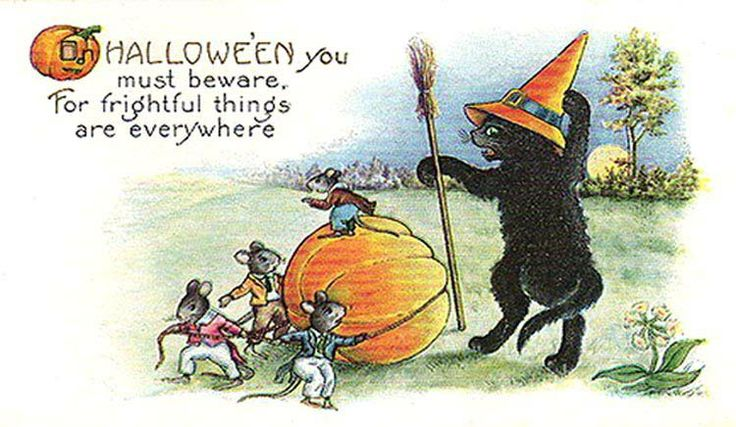 vintage clip art | Clip Art of a Vintage Black Cat Halloween Postcard