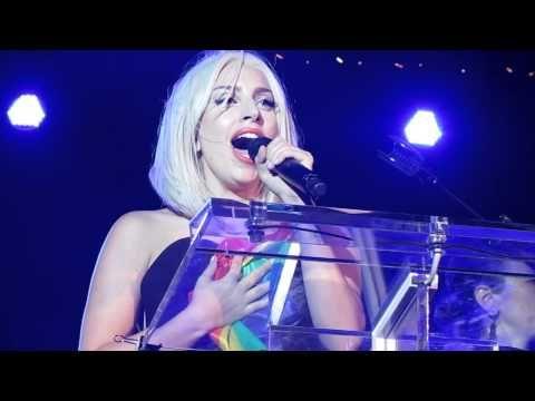 Lady Gaga sang at NYC's Gay Pride Parade's Kickoff Rally.