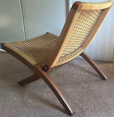 Vtg 60s Folding Rope Chair Mid Century Modern Retro Veda