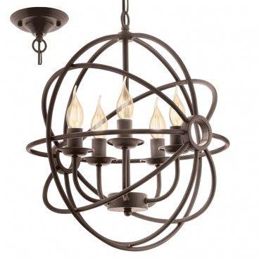 Lampa wisząca żyrandol Ebrington 5 punktów świetlnych kolor rdzawy styl vintage - LampyTanie - 699,90 PLN