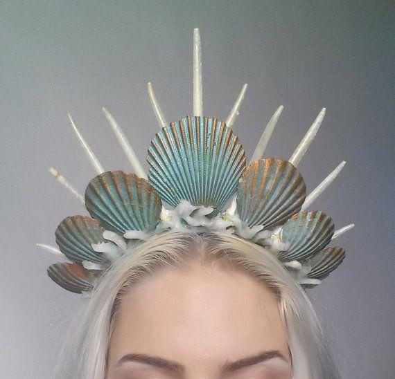 Meerjungfrau Krone Tiara Kopfschmuck Türkis von Fairytas auf Etsy
