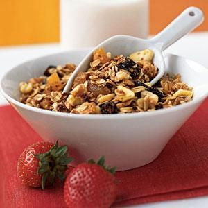 This mixture of barley and oats with nuts and raisins will keep you going all morning. Walnuts provide omega-3 fatty acids, but pecans also work nicely in this high-fiber cereal. Serve with yogurt or milk, and top with fresh fruit.