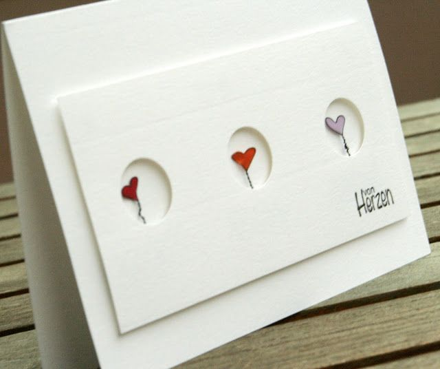 """...passend zur heute beginnenden Steckenpferdchen-Challenge zum Thema """"Herzen""""  zeigt meine Karte kleine modellierte Drahtherzen, die mit ..."""