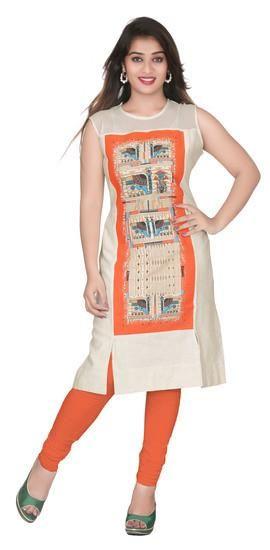 LadyIndia.com # Cotton Kurti, Stylish Casual Cotton Orange Kurti For Women, Kurtis, Kurtas, Cotton Kurti, Anarkali, A-Line Kurti Designer Kurti, https://ladyindia.com/collections/ethnic-wear/products/stylish-casual-cotton-orange-kurti-for-women?variant=30039319885