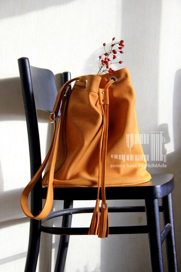 torebka worek sakwa żółta z frędzlami