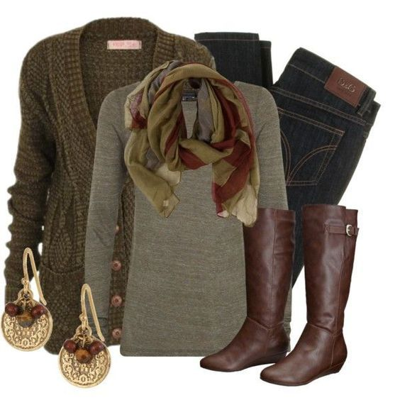 #fall #outfits / Scarf + Cardigan