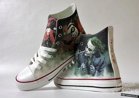 Joker Harley Quinn inspired custom shoe by PimpYourKicks on Etsy