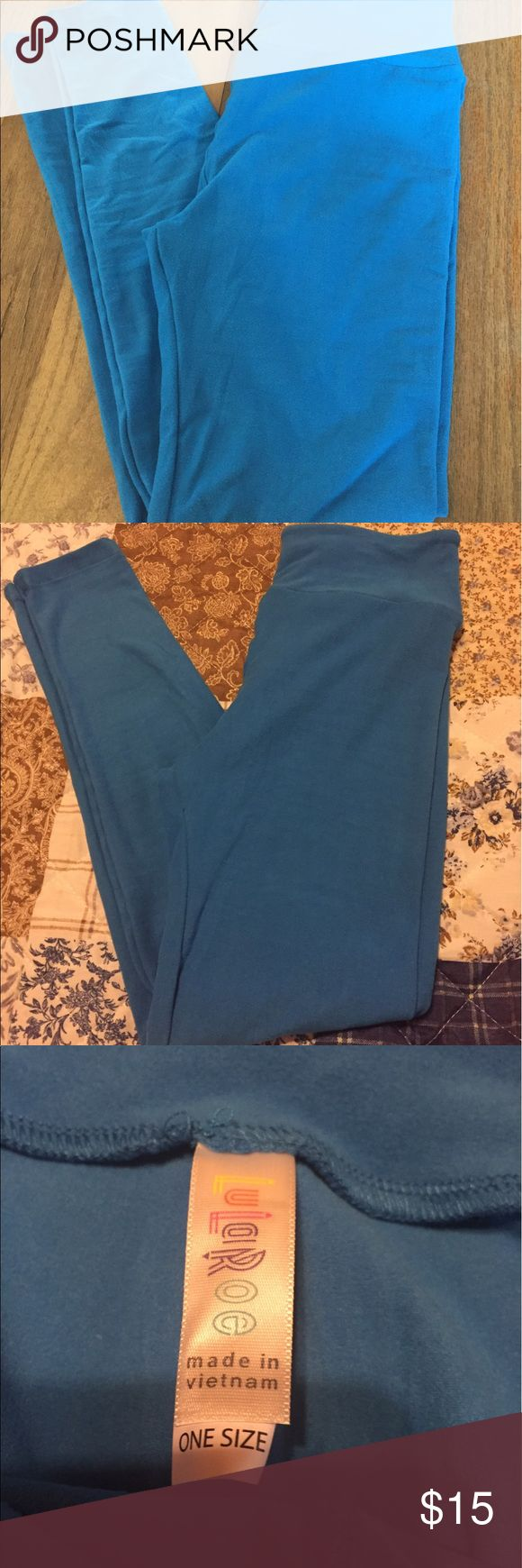 Lularoe bright blue leggings, NWOT, never worn Lularoe bright blue leggings, NWOT, never worn. I bought them and then never got a matching shirt. First pic is the correct color. Bright blue! I bought them to go with something and it didn't match LuLaRoe Pants Leggings