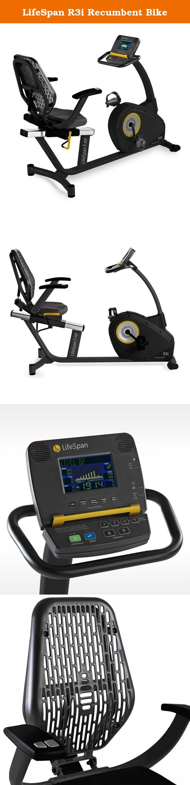 LifeSpan R3i Recumbent Bike. The R3i Recumbent Bike features a spacious step-thru design allowing you get on and off the bike with ease. The bike also offers horizontally adjustable seats with full back support and holds riders up to 400 pounds. The bike