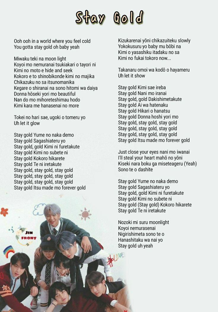 Bts stay gold lyrics di 2020 Lirik lagu, Kutipan lirik