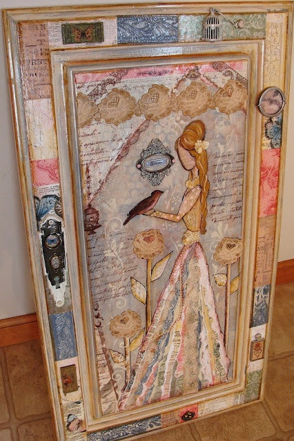 Another fabulous @shaunaleelange curation.  Art journaling transfer to cupboard door as found on My Art Journal blog by Diane Salter.  Wow.